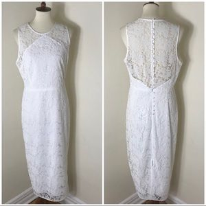 DVF lace overlay sheath dress